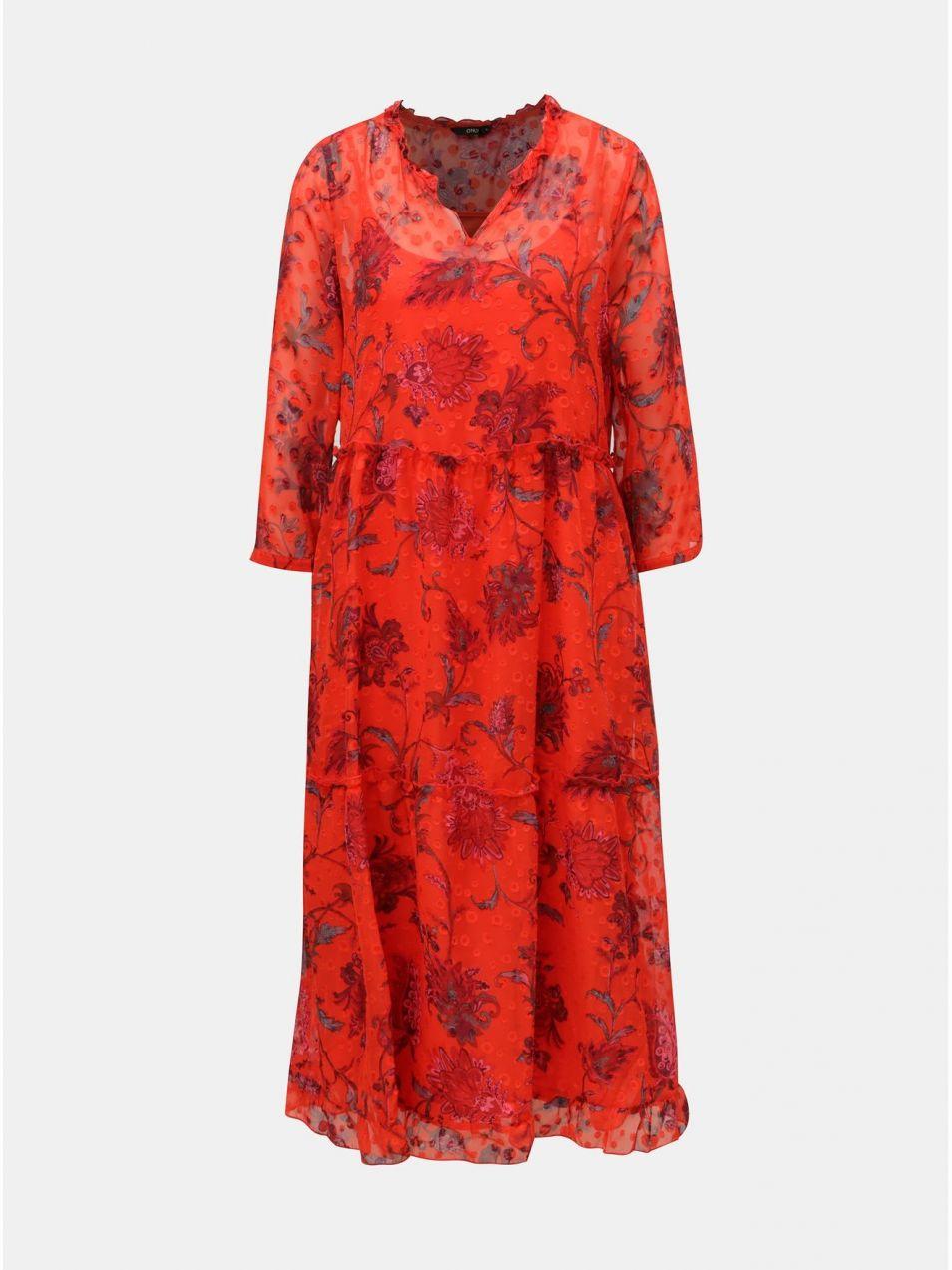 73ba0b978e43 Červené kvetované voľné midišaty s véčkovým výstrihom ONLY Celine značky  ONLY - Lovely.sk