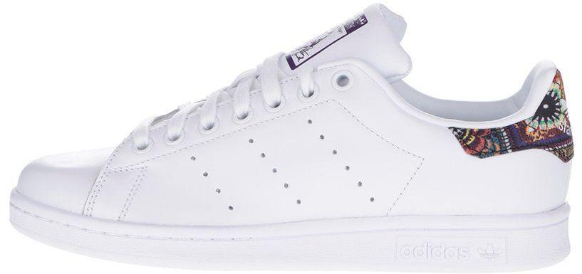 Biele dámske kožené tenisky so vzorovanými detailmi adidas Originals Stan  Smith značky adidas Originals - Lovely.sk 48eda23acd8