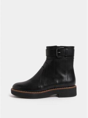 Čierne dámske kožené členkové topánky s prackou Geox Adrya 3aff73ee0c1