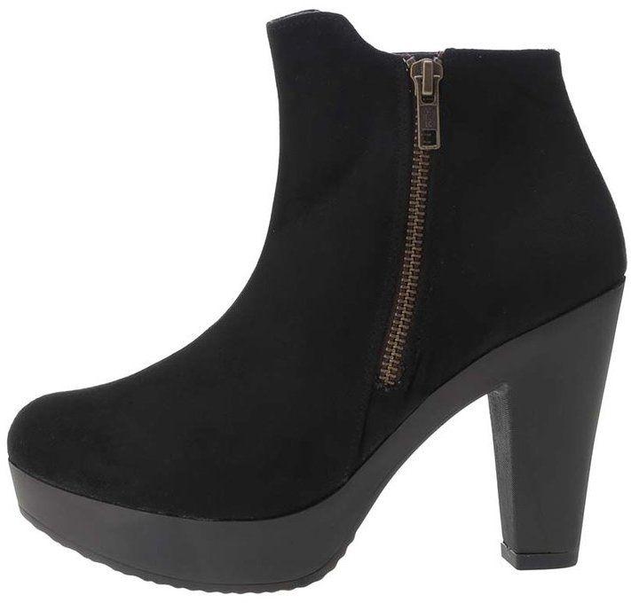 de3e4e3b69c8 Čierne členkové topánky na platforme v semišovej úprave OJJU značky OJJU -  Lovely.sk