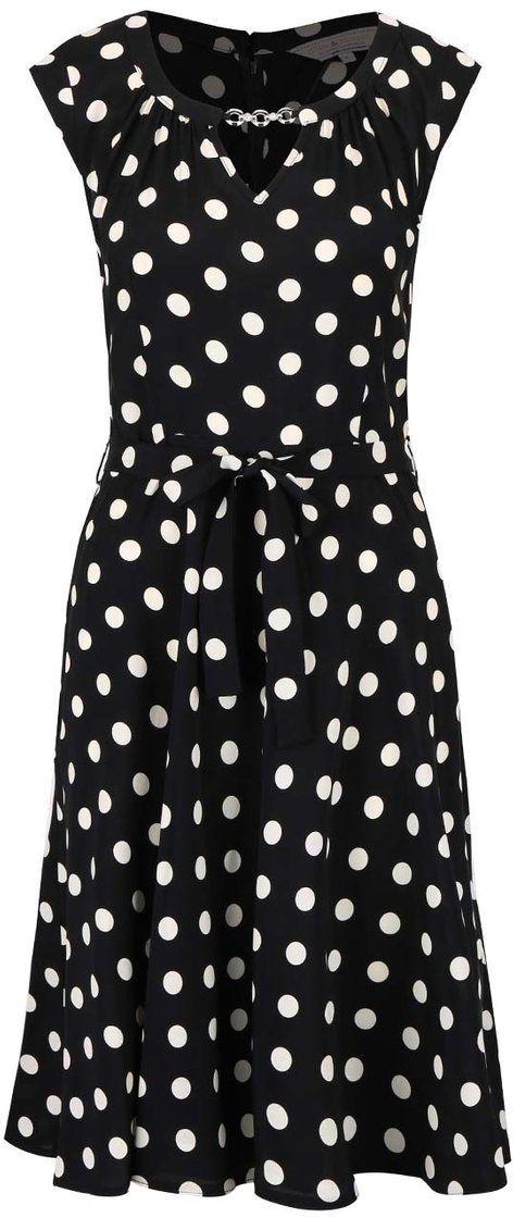 94052f06fca0 Čierne šaty s bielymi bodkami a ozdobou Dorothy Perkins značky Dorothy  Perkins - Lovely.sk
