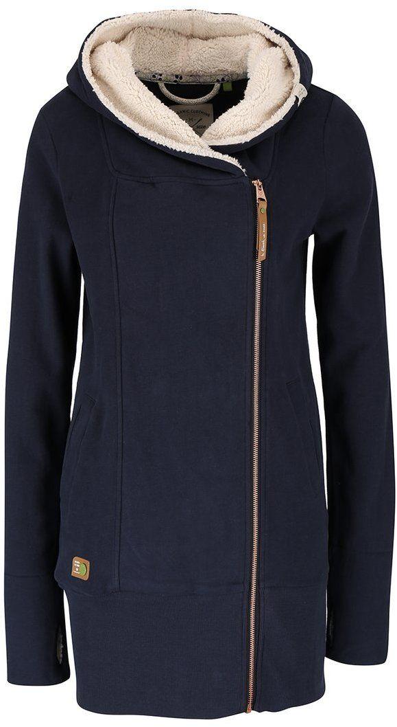 1bbd6360e0ad Tmavomodrá dámska dlhá mikina na zips Ragwear Amelia Organic značky Ragwear  - Lovely.sk