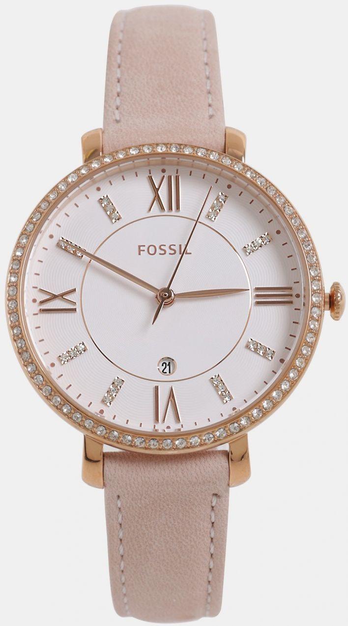 200abc62f Ružové dámske hodinky s koženým remienkom Fossil Jacqueline značky Fossil -  Lovely.sk