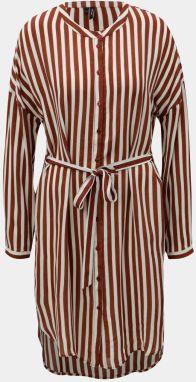 c953328e9b Krémovo–hnedé pruhované košeľové šaty VERO MODA Zilia