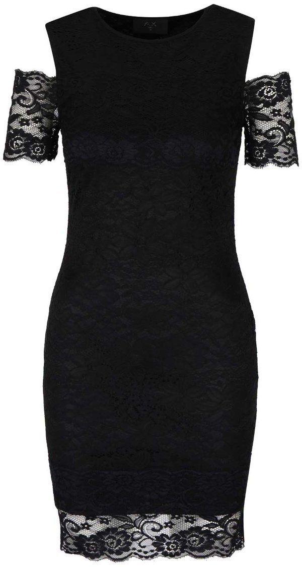 Čierne šaty s čipkou a odhalenými ramenami AX Paris značky AX Paris -  Lovely.sk 8083a42044c