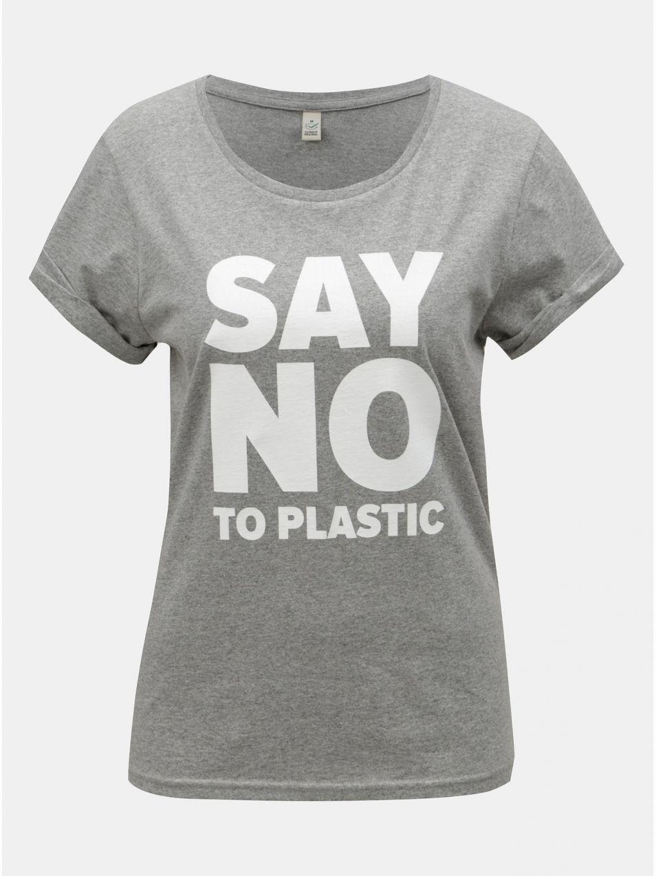 a0449ac12c2b Sivé dámske melírované tričko s potlačou ZOOT Original Say no to plastic