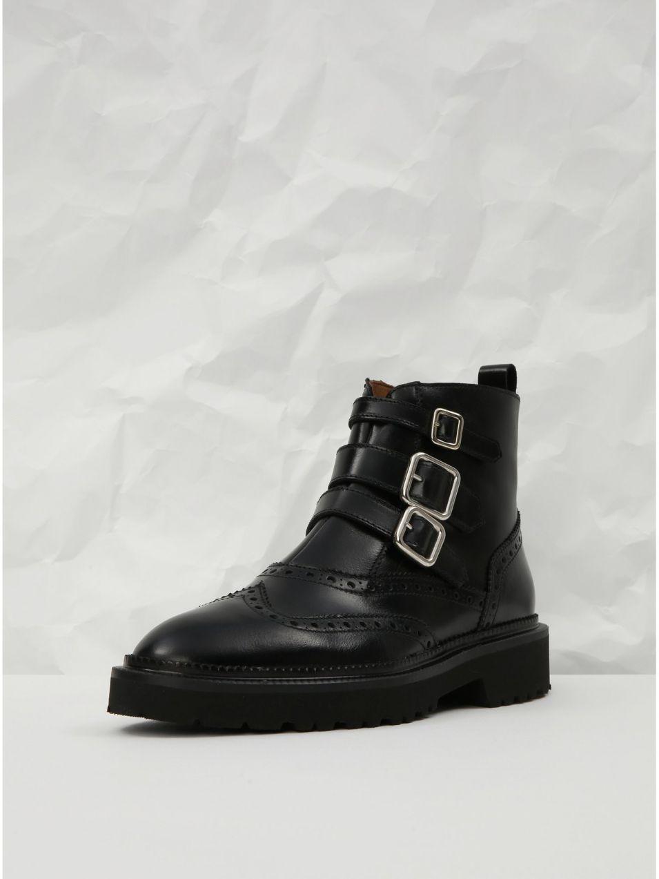 Čierne kožené členkové topánky s brogue zdobením Frau Antic značky ... 362f2c27adf
