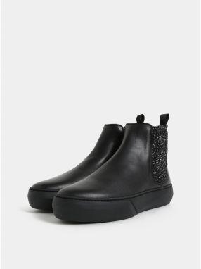 d06553d2efbf Čierne kožené chelsea topánky na platforme s trblietavým detailom Frau  Ferrer galéria