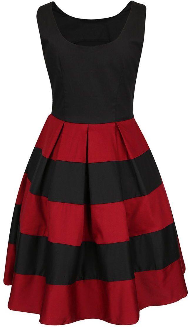e7248219594a Červeno-čierne šaty s pruhovanou sukňou Dolly   Dotty Anna značky Dolly    Dotty - Lovely.sk