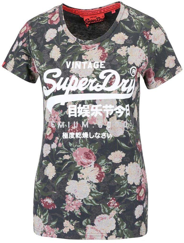 8c5ad1cb9fca Zelené dámske kvetinové tričko s nápisom Superdry značky SuperDry -  Lovely.sk
