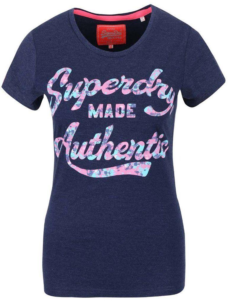 e76fa25f5f78 Tmavomodré dámske tričko s nápisom Superdry značky SuperDry - Lovely.sk