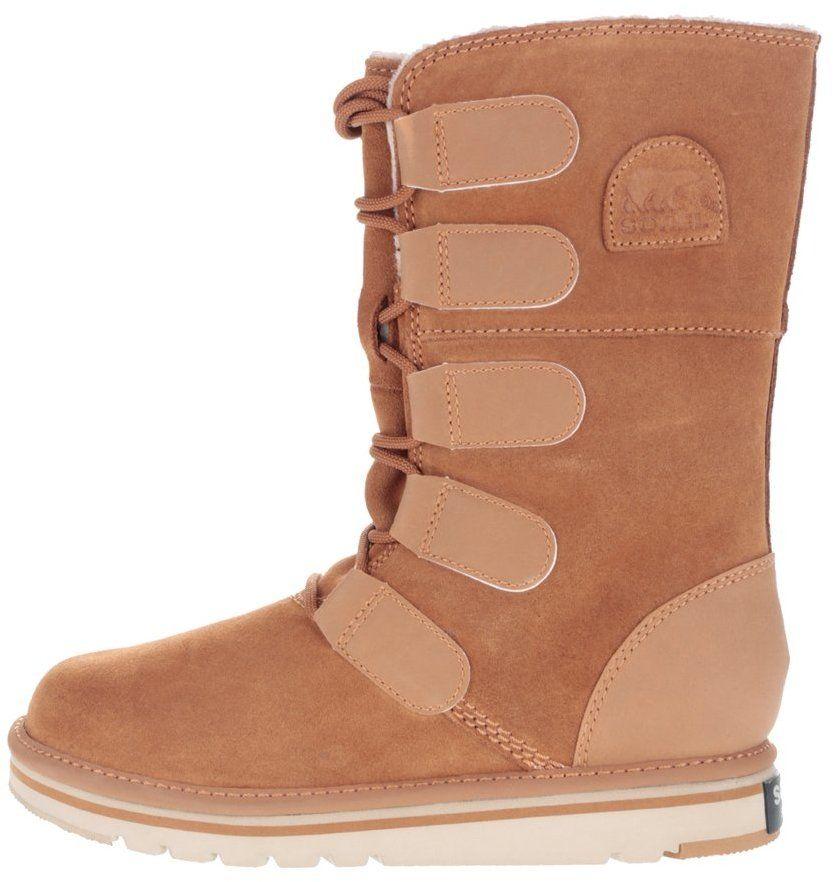 Hnedé kožené zimné topánky s viazaním SOREL Newbie Lace značky SOREL -  Lovely.sk 86948e3e5ec