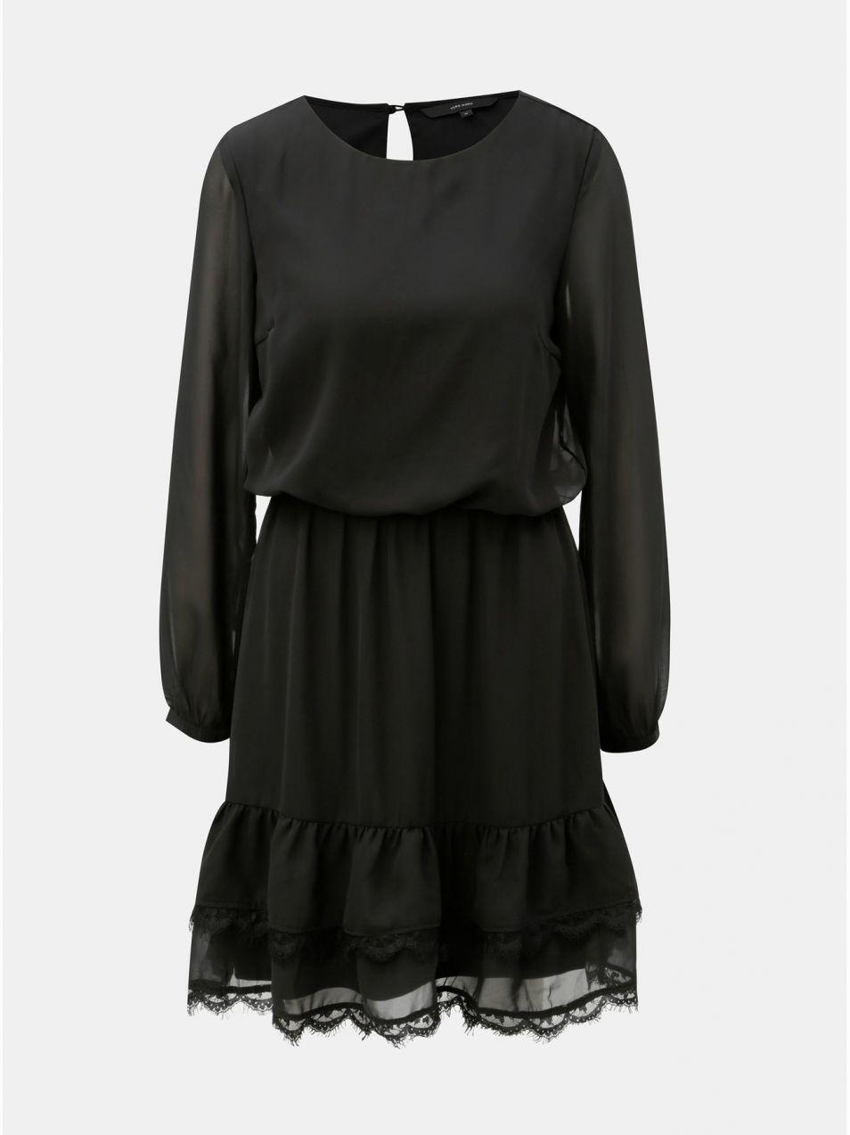 8dc3d05a2a27 Čierne šaty s dlhým rukávom a čipkovanými detailmi VERO MODA značky ...