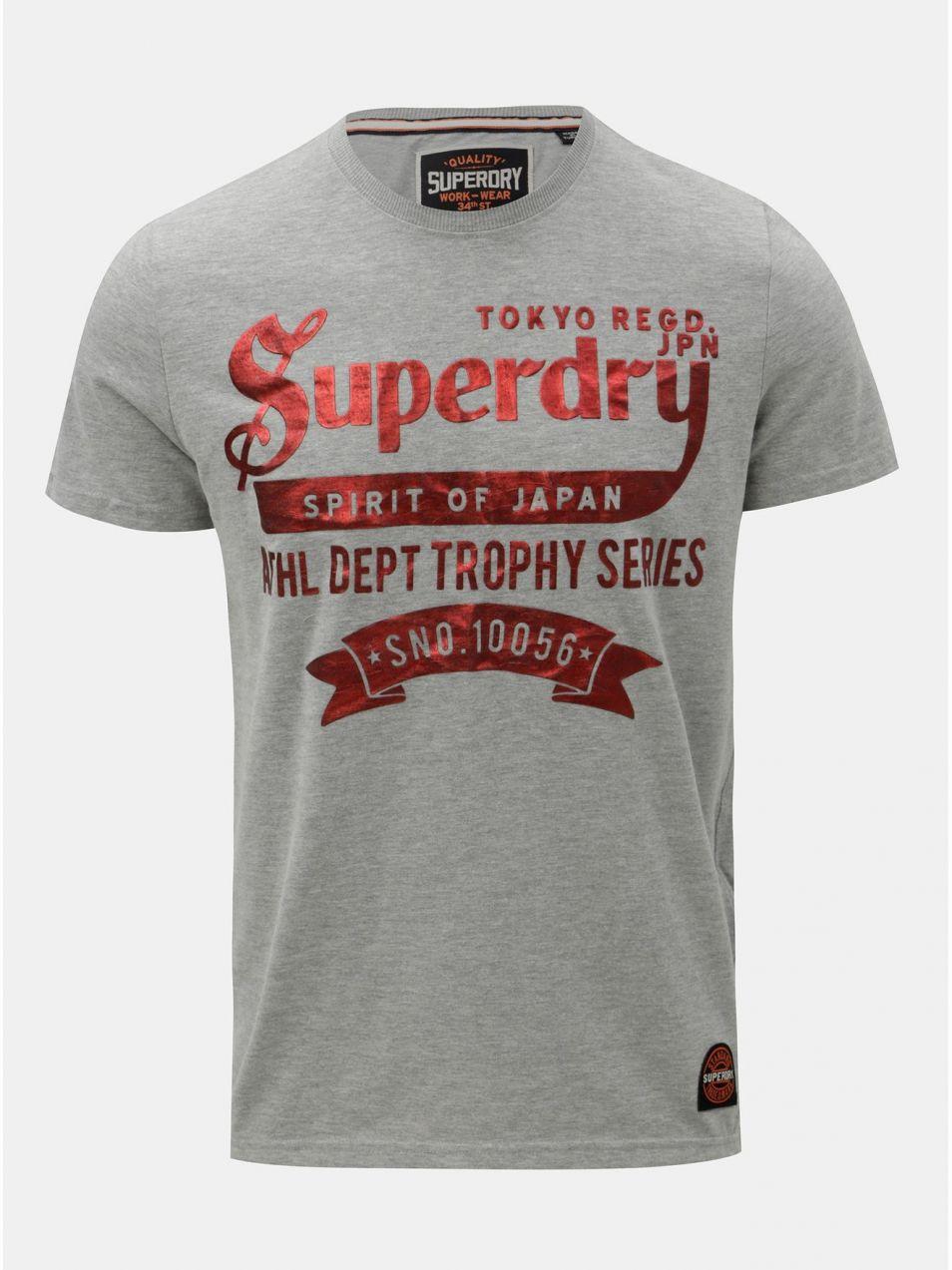 2e13bb924634 Sivé pánske tričko s krátkym rukávom a potlačou Superdry značky ...