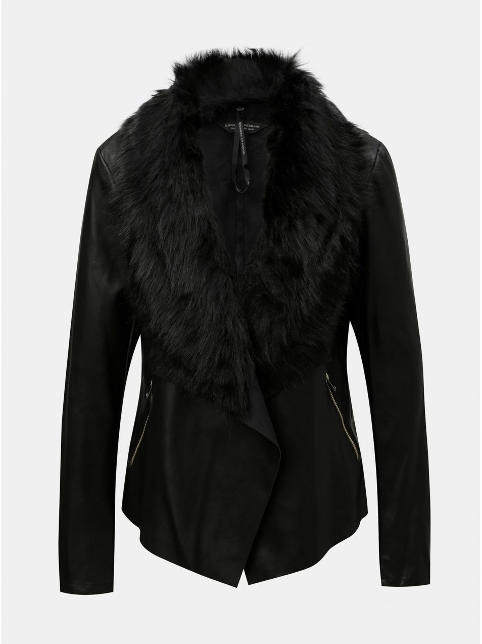 Čierna koženková bunda s odnímateľnou umelou kožušinkou Dorothy Perkins  značky Dorothy Perkins - Lovely.sk b7a3b3b0323