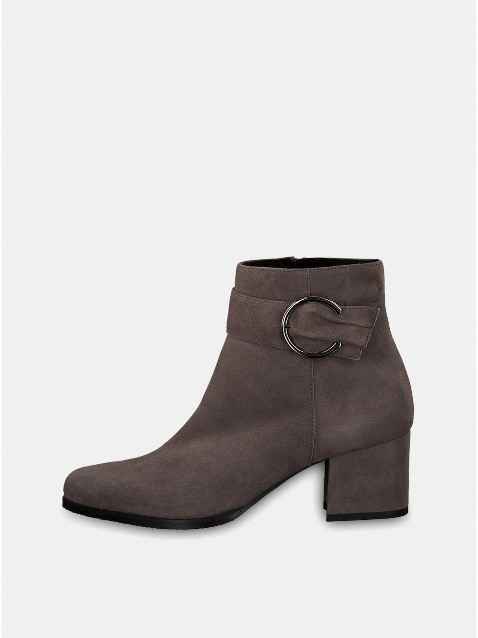 Sivé semišové členkové topánky na podpätku s ozdobnou prackou Tamaris 703ed4d5270