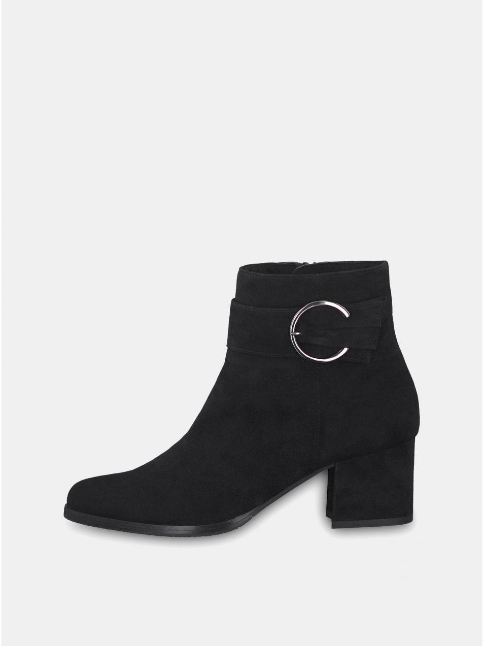 121e9ed4268c Čierne semišové členkové topánky na podpätku s ozdobnou prackou Tamaris  značky Tamaris - Lovely.sk