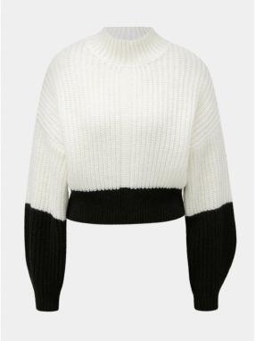 4e97ab861481 Čierno–biely skrátený voľný sveter so stojačikom Miss Selfridge