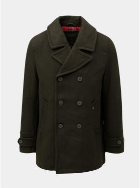 Kaki vlnený kabát so zapínaním na gombíky Merc 132d252e09e