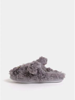 Sivé chlpaté papuče v tvare zajačika Dorothy Perkins 177520b0a43