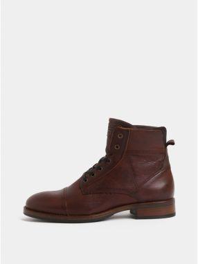 Hnedé pánske kožené členkové topánky Bullboxer 9c8f2d70fef