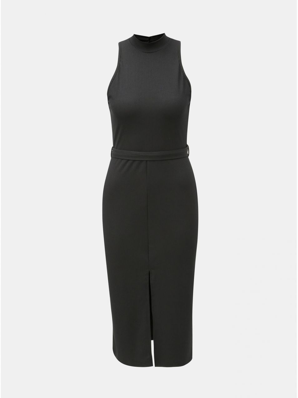 Čierne puzdrové šaty s opaskom a rozparkom Miss Selfridge značky ... 32eb206e317