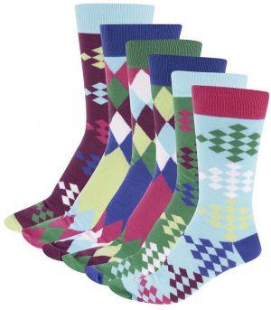 Súprava šiestich farebných panských ponožiek s golfovým vzorom Oddsocks Fore c91299baae