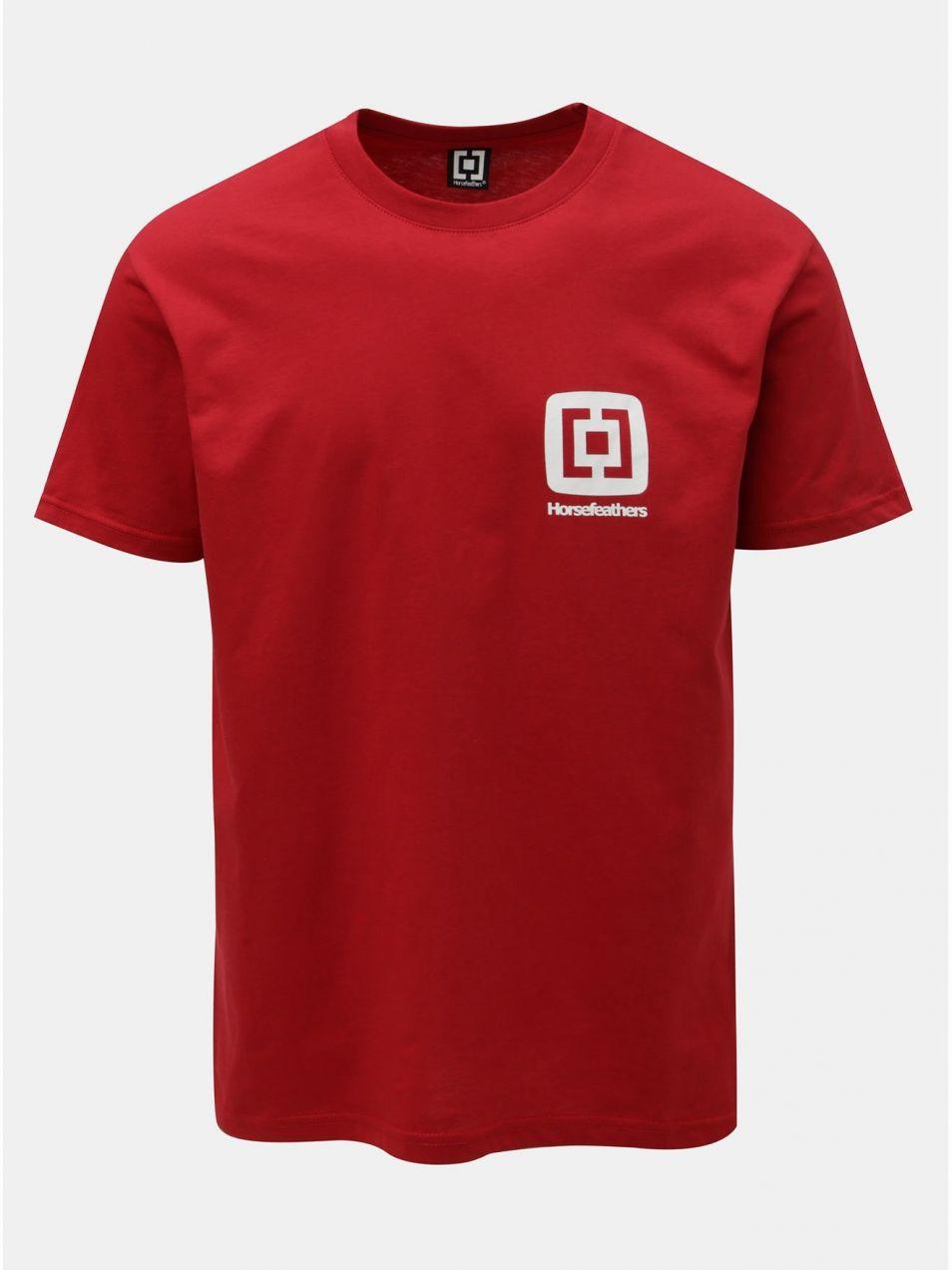 e64b0790c27e Červené pánske tričko s potlačou a krátkym rukávom Horsefeathers Mini Logo  značky Horsefeathers - Lovely.sk
