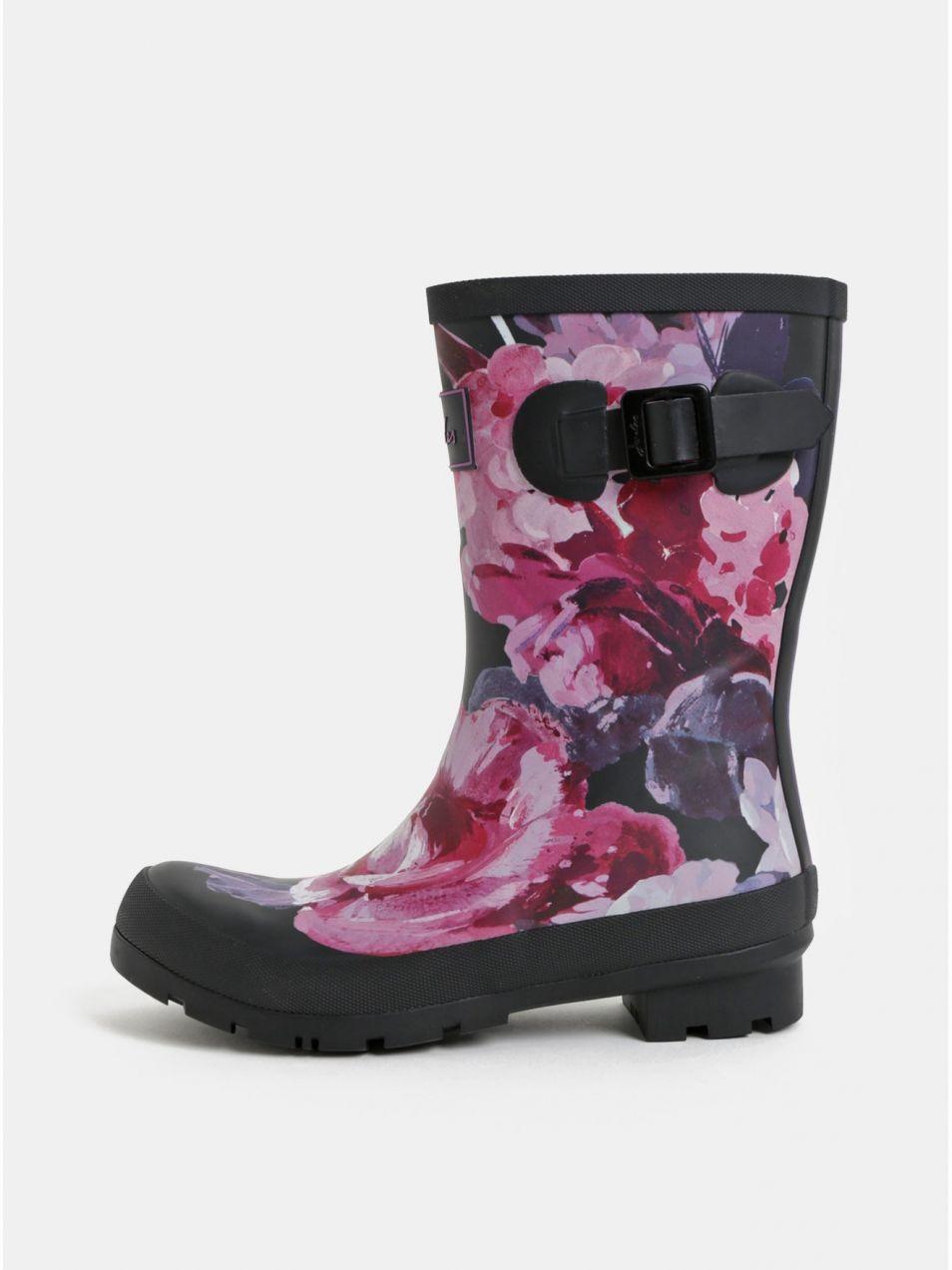 dcb2993fb9db2 Ružovo–čierne dámske kvetované gumáky s ozdobnou prackou Tom Joule Molly  značky Tom Joule - Lovely.sk