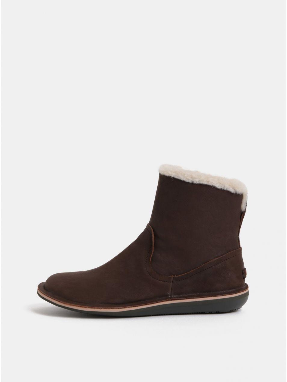 1aa2db69dc4a5 Hnedé dámske kožené topánky s vnútornou umelou kožušinkou Camper Betle  značky Camper - Lovely.sk