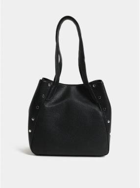 d360a0b394 Čierna kabelka cez rameno s detailmi v striebornej farbe Pieces Kimberley