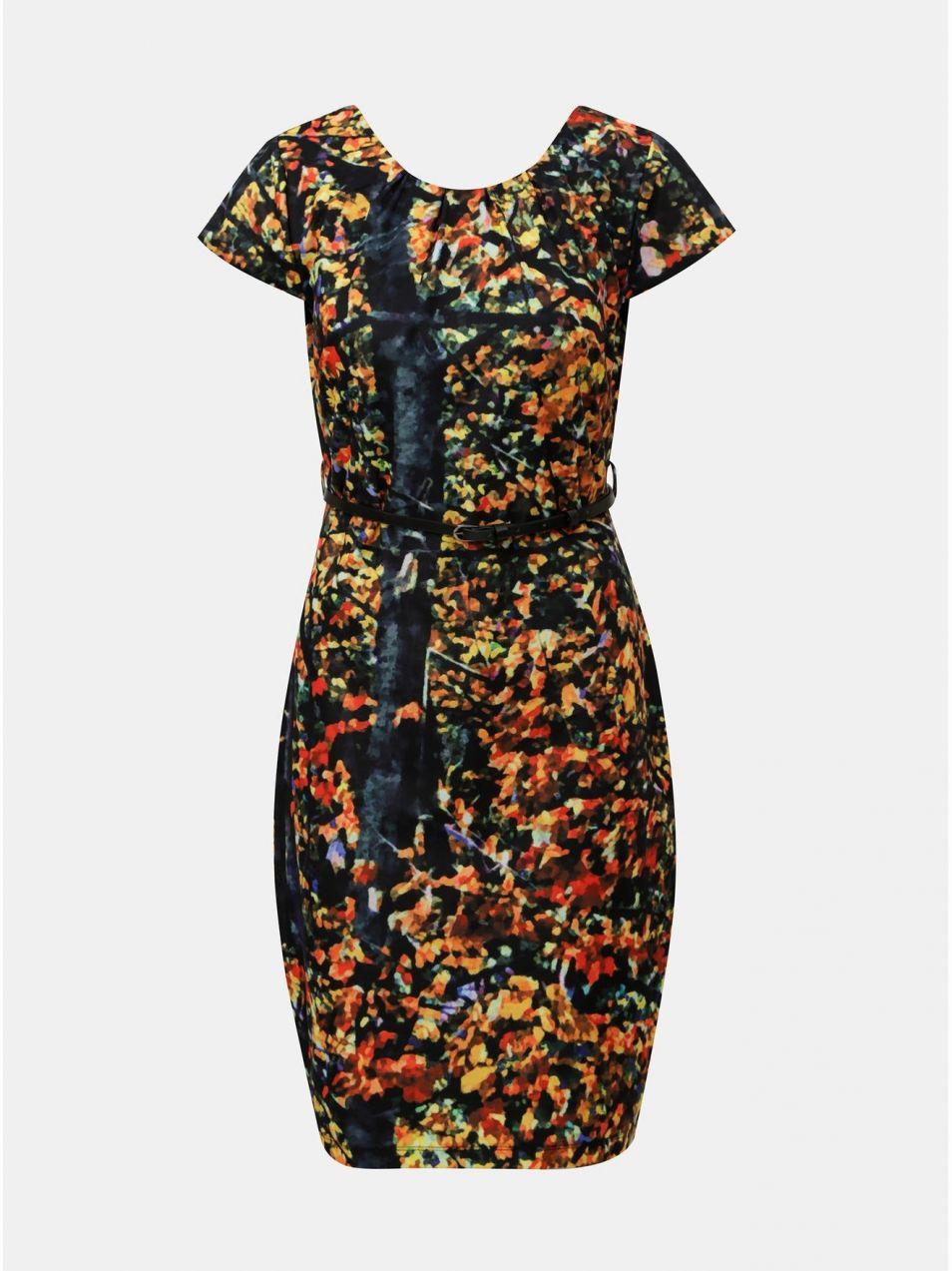 Oranžovo–čierne vzorované šaty s opaskom Smashed Lemon značky ... 7f52be90c1f