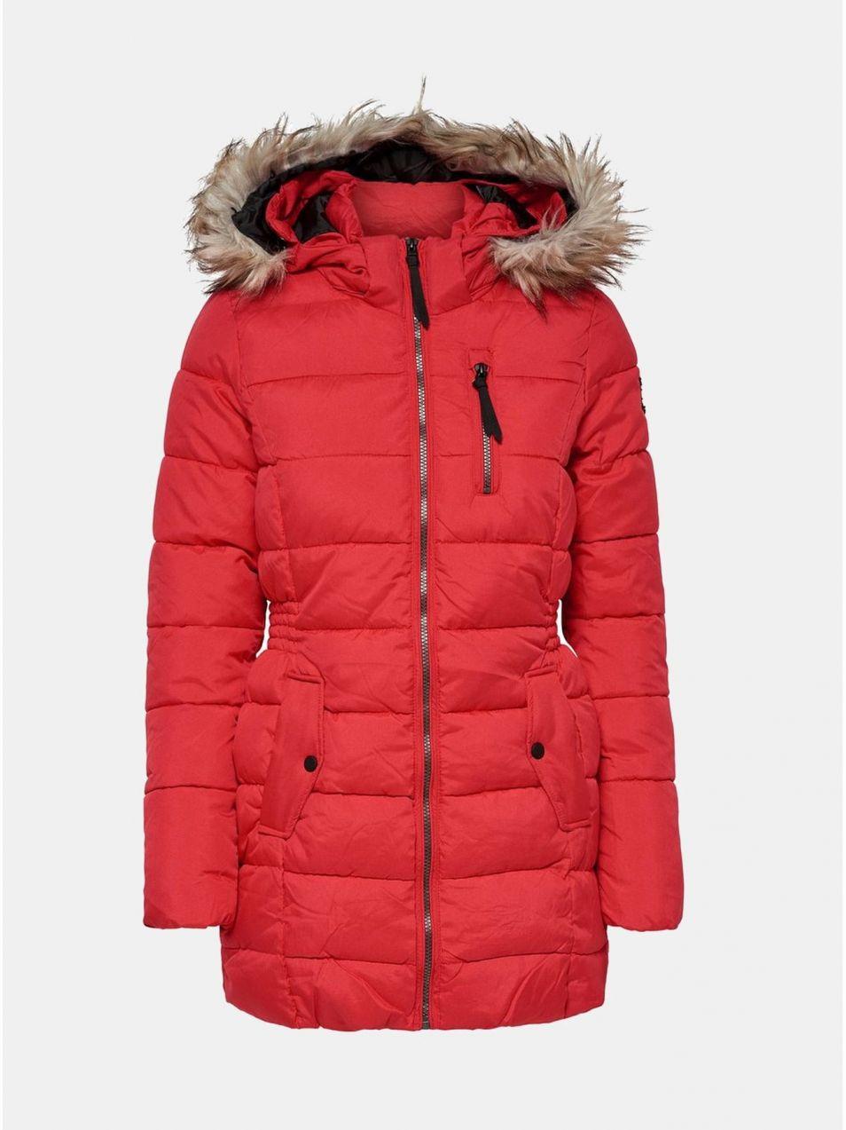 Červený prešívaný zimný kabát s umelou kožušinkou ONLY North značky ONLY -  Lovely.sk 4708eff6ded