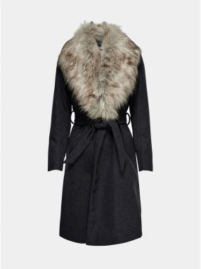 Tmavosivý melírovaný kabát s odnímateľným golierom z umelej kožušiny ONLY  Anika 83921314003