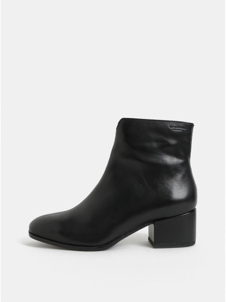 6d819c084f5a Čierne dámske kožené členkové topánky na nízkom podpätku Vagabond Daisy
