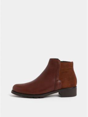 Hnedé kožené členkové topánky so semišovým detailom OJJU b114ff2e302