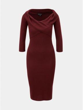 Vínové rebrované puzdrové šaty s lodičkovým výstrihom Dorothy Perkins 773b4d678ac