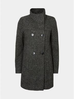 Tmavosivý melírovaný kabát s golierom a prímesou vlny VERO MODA Line 1ab83f705d