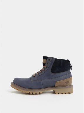 Modré pánske kožené členkové zimné topánky so semišovými detailmi  Weinbrenner c205305d1ff