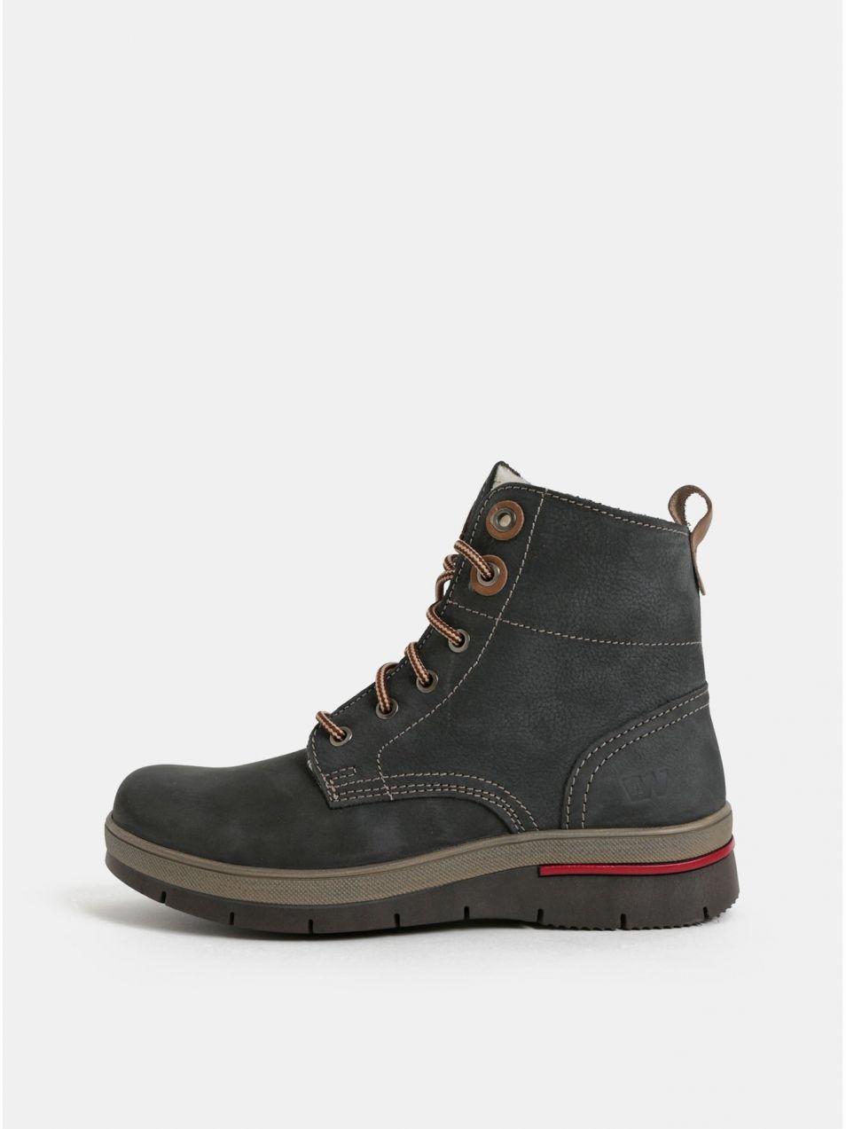 8b5c59e912 Tmavosivé dámske kožené členkové zimné topánky s umelou vnútornou kožušinkou  Weinbrenner značky Weinbrenner - Lovely.sk