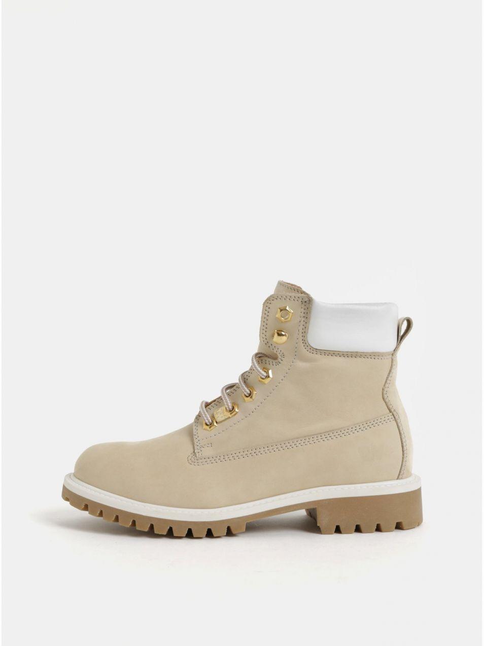 Krémové dámske kožené členkové topánky Weinbrenner značky ... 847be226f7d