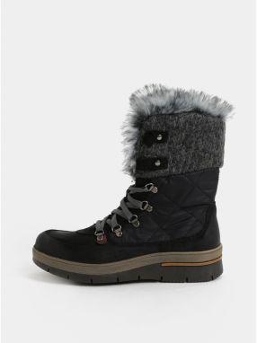 Sivo–čierne dámske zimné topánky so semišovými detailmi Weinbrenner 7f556a7aafc