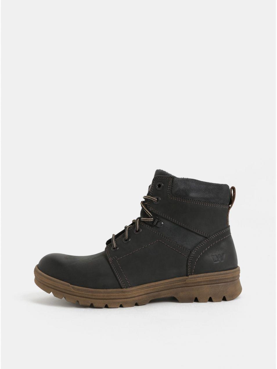cc90aac8ee0a Tmavosivé pánske kožené členkové zimné topánky so semišovými detailmi  Weinbrenner značky Weinbrenner - Lovely.sk