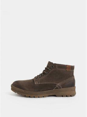 Tmavohnedé pánske semišové členkové zimné topánky Weinbrenner 2aed8c758c5