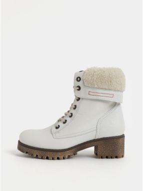 Biele dámske kožené členkové zimné topánky na podpätku Weinbrenner e866131d63a