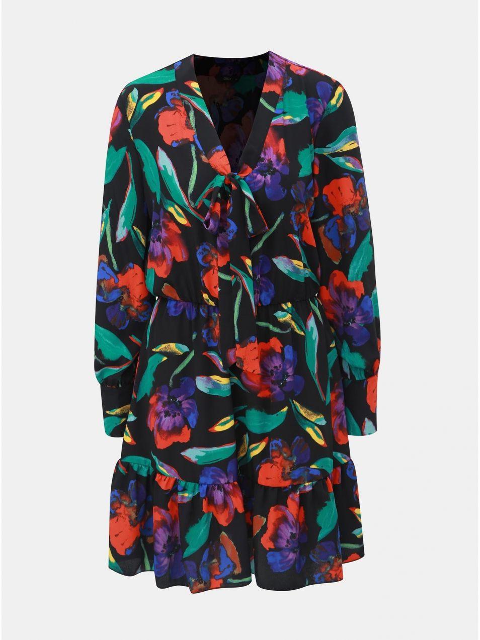 4806a99804a3 Čierne kvetované šaty s mašľou ONLY Chanell značky ONLY - Lovely.sk