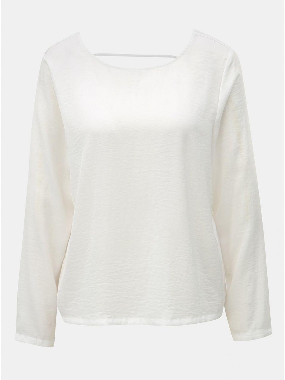96e5146fe533 Biela blúzka s dlhým rukávom a prestrihom na chrbte ONLY Mona značky ...