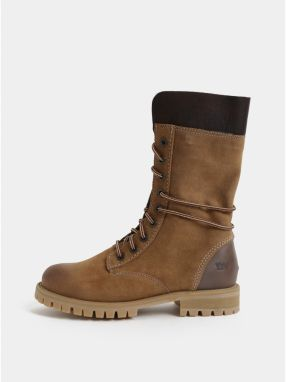 Hnedé dámske semišové členkové zimné topánky so šnurovaním Weinbrenner 01e8d615462