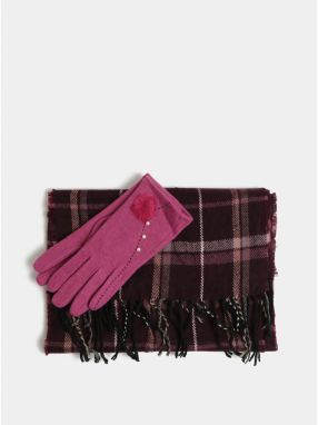 Darčekové balenie šálu a vlnených rukavíc v ružovej a fialovej farbe  Something Special 0822e0162f