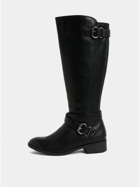 Čierne čižmy s prackami v striebornej farbe Dorothy Perkins cfd5f3a96a9